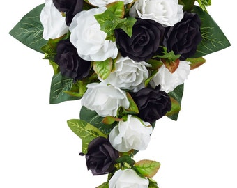 Black And White Silk Rose Cascade - Bridal Wedding Bouquet