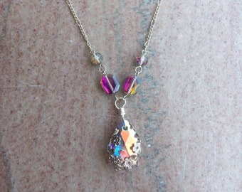 Rainbow Crystal Filigree Wrapped Necklace
