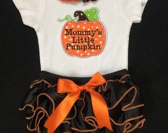First Halloween/ Mommy's Little Pumpkin/Halloween/Fall/Daddy's little Pumpkin/CakeSmash/Pageant/PhotoProp/Halloween Pumpkin/Little Pumpkin