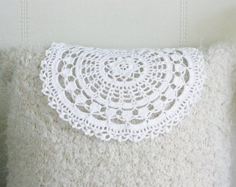 "White Doily- Eco Friendly Cotton Crochet Doily 13"" / 33 cm."