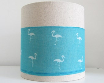 25cm Diameter Lampshade -White and Turquoise Flamingo Print Stripe on Natural Grey/ Stone Coloured Fabric.