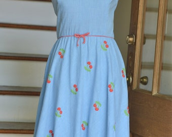 vintage 70's does 50's chambray flare dress with cherries