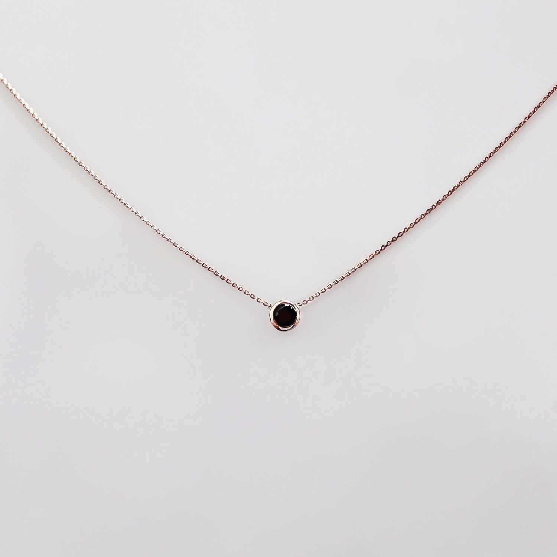 Black Diamond Necklace 15 carat Solitaire Black Diamond