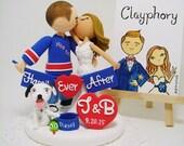 Romantic- Sports team theme Custom wedding cake topper with dog