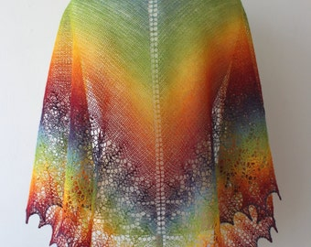 Hand knitted rainbow lace shawl, multi colored Estonian wool lace shawl