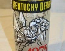 Vintage 1975 Kentucky Derby 101 Clear Bar Glass Tumbler~Derby Winners on Back