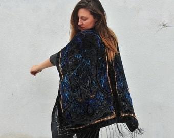 Velvet Kimono: Black, Teal and Gold Filigree Gypsy Fortune Teller Paisley Velvet Burnout Fringe Kimono Cover Up