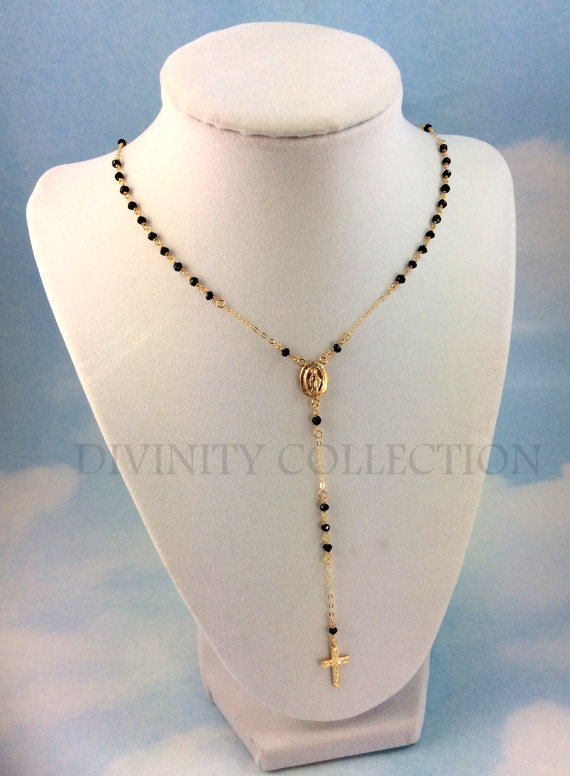 Gold Filled Rosary Necklace Black Spinel Gemstone Womens Cross