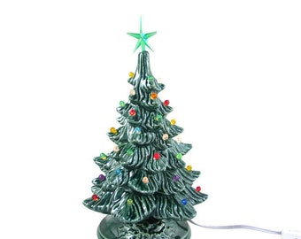 Ready to Ship - Medium  Vintage Style Glazed Ceramic Christmas Tree -13.5 inches with base, hand made, painted, pine tree