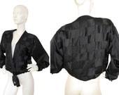 SALE - 20% Laura Biagiotti 1980s Vintage Evening Jacket Blazer Silk Woven Braided Black US 6 Small