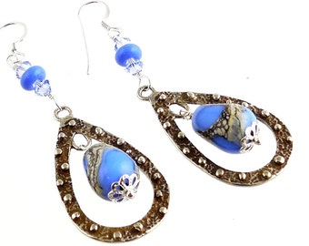 Periwinkle Blue  Teardrop Lampwork Beaded Earrings, Lampwork Earrings, Fashion Accessories, Gifts