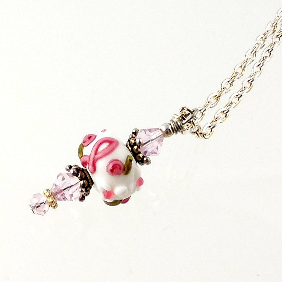 lwork pink ribbon necklace pendant necklace breast cancer