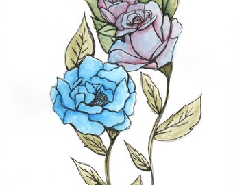 Peony and Roses - ORIGINAL watercolor painting