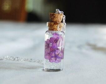 Resin Flower Necklace , Bottle Necklace , Purple Flower Necklace , Resin Jewelry , Sterling Silver Necklace