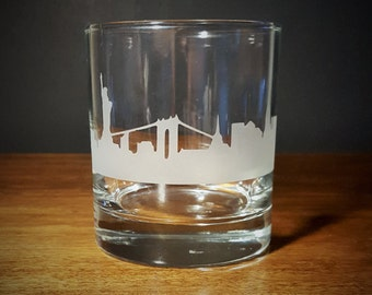 New York City Skyline Old Fasioned/Whiskey Lowball Glass