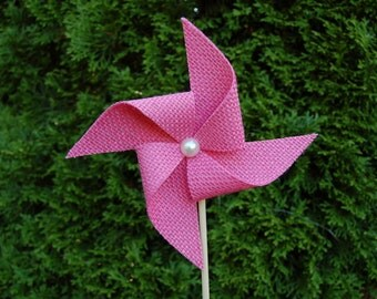 Rustic Burlap Wedding -  Pink Burlap Wedding Pinwheel Decoration - Rustic Shower
