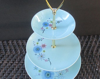 Taylor Smith Taylor Pebbleford - Mardi Gras Pattern - Mid Century Modern Atomic - Turquoise Three Tier TidBit Tray