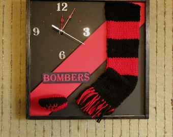 Sports Wall Clock,  Contemporary Wall Art Clock, AFL Bombers, Australian Football Team Essendon