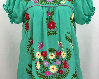 "Mexican Peasant Blouse Top Hand Embroidered: ""La Mariposa"" Mint Green with Colorful Embroidery"