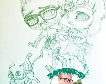 Custom japanese chibi couple manga portrait - anime style drawing commission - personalized wedding gift birthday anniversary valentines day