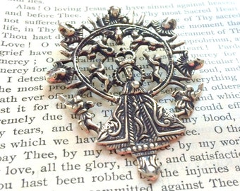 """Queen of Heaven - Mary Medal - 2"""" - Catholic Medal - Bronze or Sterling Silver - Religious Medal - Vintage Replica (M167-917)"""