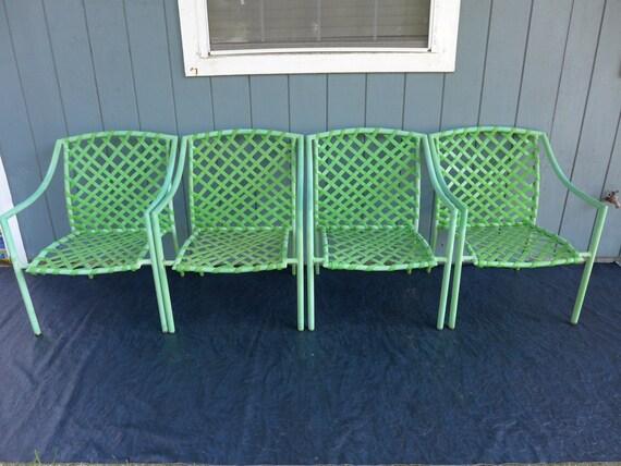 Set Of 4 Vintage Green Tamiami Brown Jordan Lounge Chairs