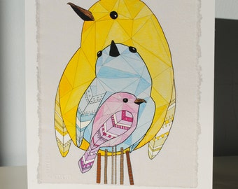Three Birds Watercolor Print
