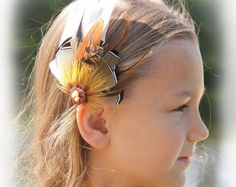 """Brown Feather Hair Clip """"Wind of the Desert"""" Brown Hair Clip Brown Feather Hair Fascinator Brown Feather Hair Clip  Bohemian Hair Clip"""