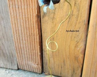 Bullet Flower Bullet Casing Flower Sculpture Brass Verdigris Patina Wooden Base Found Object Art