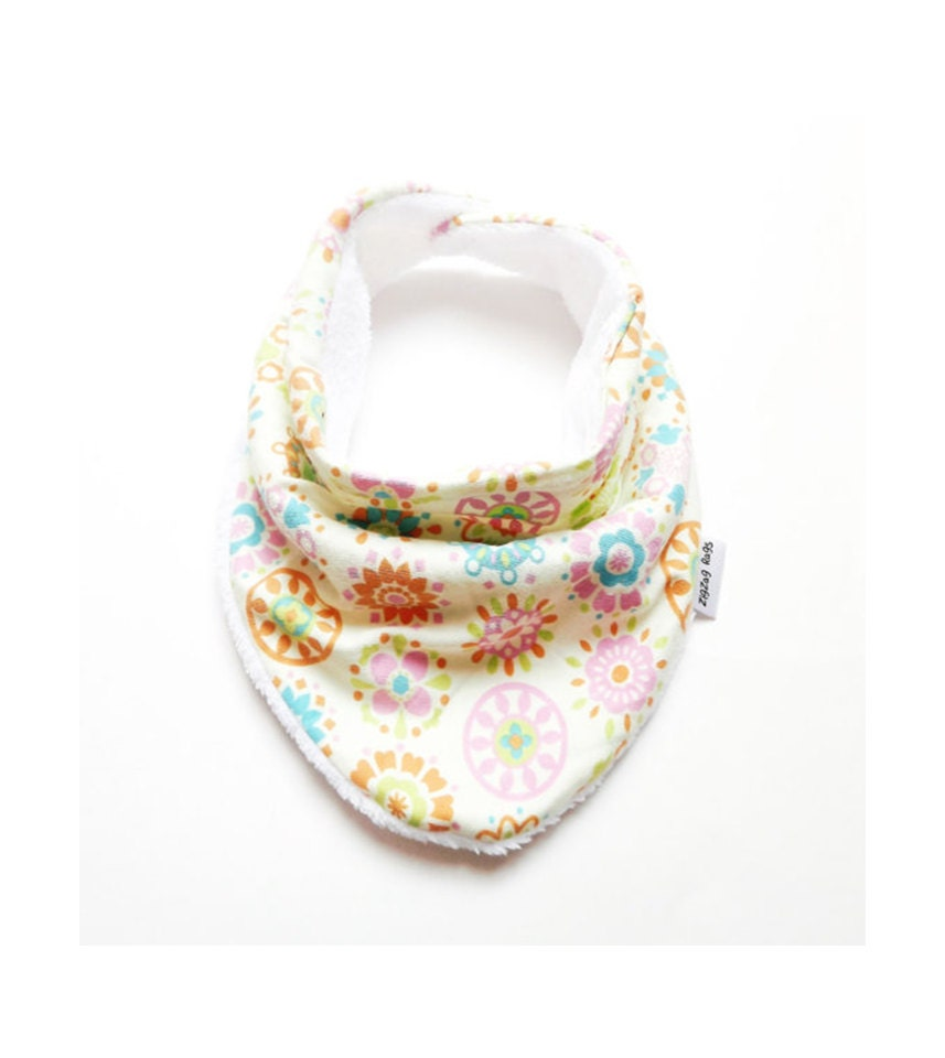 baby bandana bib scarf in geometric floral jersey knit with