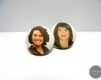 Broad City Abbi & Ilana Fabric Button Earrings