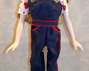 15-16 Inch Fashion Doll Clothes - Rosie Never Looked So Good Overalls Outfit made by Jane Ellen to fit 15-16 inch fashion dolls