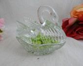 1930s Vintage Depression Era Pressed Glass Swan Dish