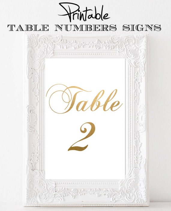 Printable 4 x 6 Table Number Signs Antique Gold 1-10