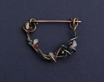 Copper Shawl Pin with pink glass beads and white gemstone, wire wrapped Brooch