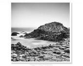Black and White Photo, Irish Gift, Coastal Decor, Giants Causeway, Northern Ireland, Coastal Wall Art, Made In Ireland