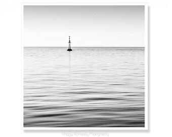 Black and White Ocean Photograph, Calming Wall Art Print, Minimalist Art