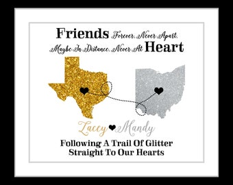 Faux glitter maps personalized best friends birthday gift for best friend sisters present cousins long distance two hearts sister gifts