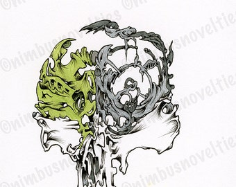 Abstract Skull with Green Leaf Form and Other Organic Elements! Detailed Ink Illustration is One of a Kind! Enjoy!