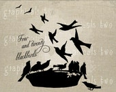 Nursery rhyme Blackbirds in a Pie Instant graphic digital download image transfer for iron on burlap tote pillow Paper Decoupage No. 2156