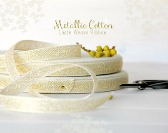 "Natural Cotton Ribbon with Gold - 3 or 6 Yards of  Metallic Ribbon -  1/2"" wide - Loose Weave Ribbon - Metallic Cotton Ribbons - DIY Wedding"