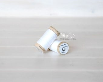 Organic Cotton Thread GOTS - 300 Yards Wooden Spool - Thread Color White - No. 4800 - Eco Friendly Thread - 100% Organic Cotton Thread