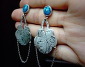Turquoise Chadelier Sterling Silver Earrings/ Floral Motive
