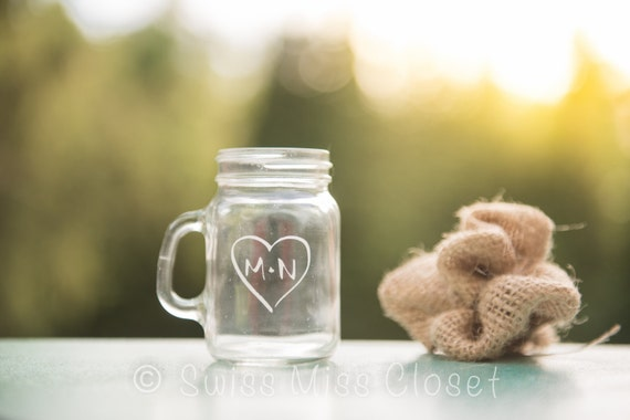 Custom Etched Mini Mason Jar Shot Glass Personalized  Wedding Favor Groom's Men Gift