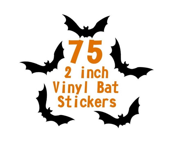 75 2 Inch Bat Vinyl Stickers Halloween Envelope Seals