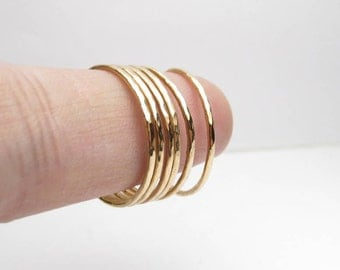 Hammered Bronze Stacking Ring Set of 6 Thin Stackable Rings Thin Hammered Rings Made to Order