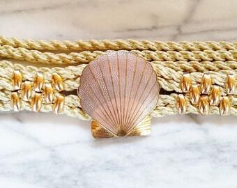 Vintage Enamel Shell Hook Braided Ilis Belt