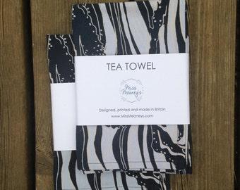 1x 100% Cotton Tea Towel - Vanilla Waves