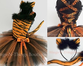 TIGER CAT COSTUME Tutu Dress 3pc Set w/ Kitty Ear Headband, Removable Cat Tail, Orange and Black, Tigger, Pageant, Toddler, Girls, Halloween