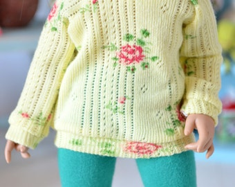 Yellow rose sweater for Littlefee and similar sized YOSD BJDs